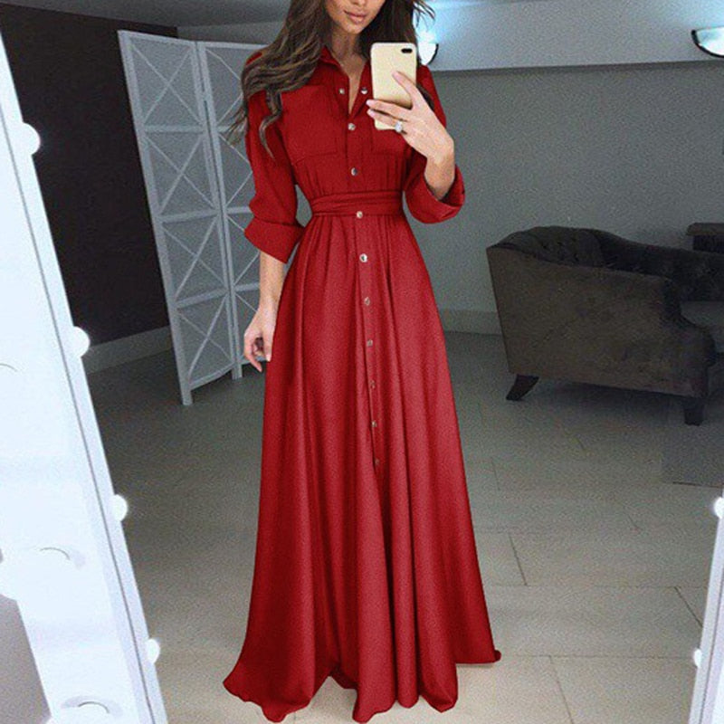 Fashion Dress Women's Casual Long Sleeve Solid Elegant Woman Dresses Turn Down Collar Button Long Dresses Autumn Ankle Dresses