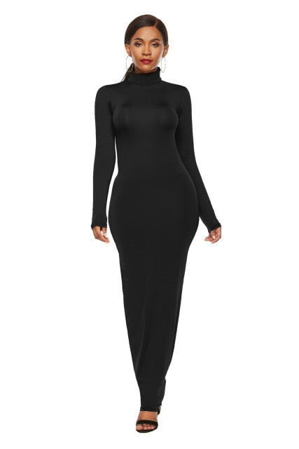 Women's European and American Fashion Plain Dress Long Sleeve Stretch Slim Turtleneck Dress Women's dress