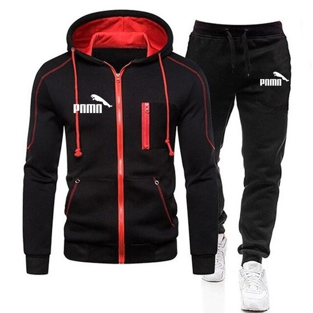 New 2020 Casual Tracksuit Men Sets Hoodies And Pants 2 Piece/Sets Zipper Hooded Sweatshirt Outfit Sportswear Male Suit Clothing