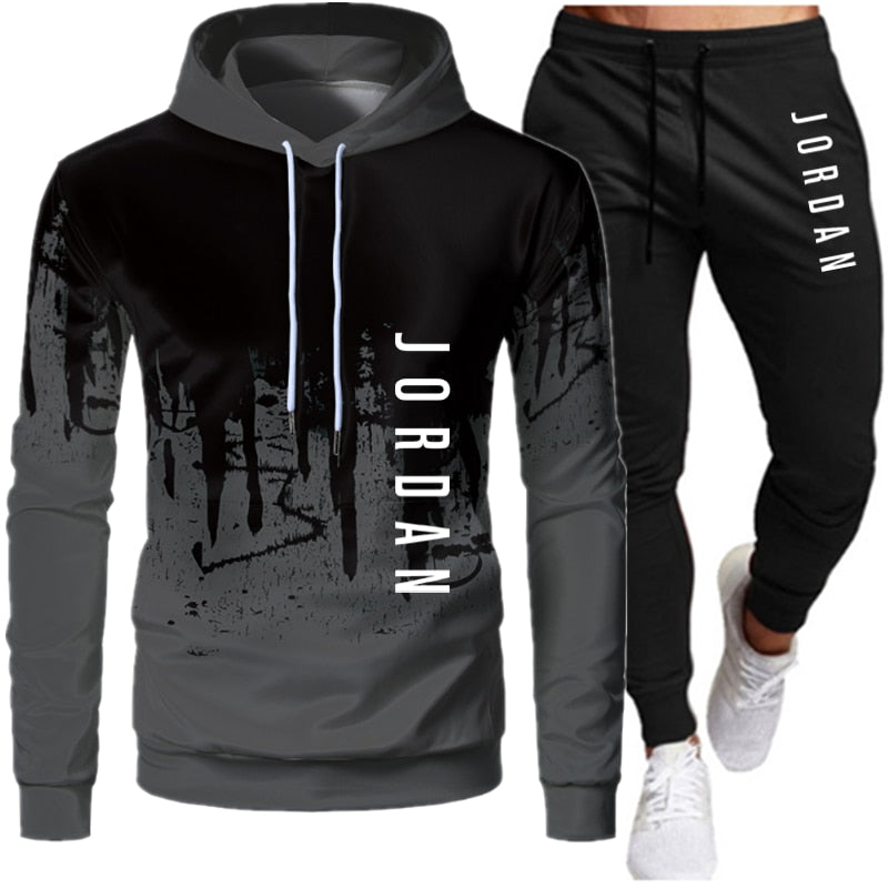 New Men Sets Clothing Fashion Tracksuit Casual Sportsuit Hoodies Sportswear Hooded Sweatshirt+Pant Pullover two piece Set 4XL