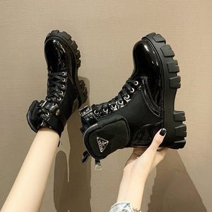 Womens Platform Heels Casual Fashion Martin Boots Women 2020 Winter New Platform Black Short Boots Women  Women Shoes