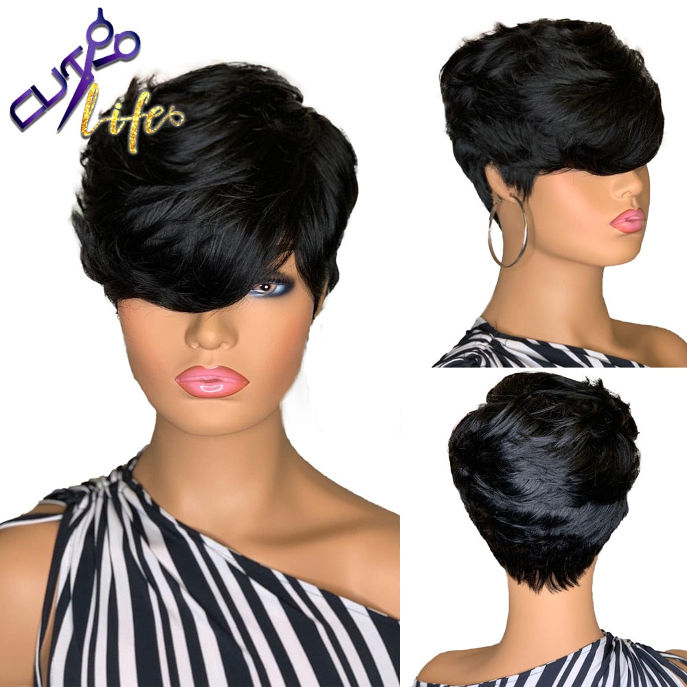 Pixie Short Cut Human hair Wavy Wigs Natural Black Color Glueless Wigs Brazilian Remy Hair For Women Full Machine Made Wigs