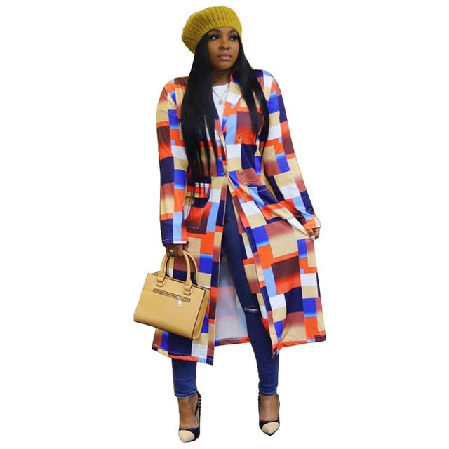 Colorful Women Plaid Printing Midi Cardigan 2020 Autumn Female's Turn-Down Collar Full Sleeve Double-breasted Ankle-Length Coats