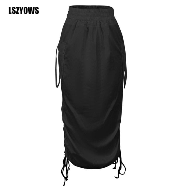 2021 Summer High Waist Women Skirt Fashion Side Drawstring Lace Up Midi Skirts Saias Ladies Black White Casual Skirt Streetwear