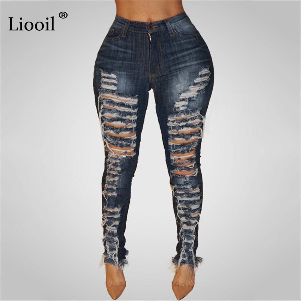Liooil Dark Blue Ripped Pencil Jeans For Women 2021 Sexy High Waist Trousers Wash Distressed Stretch Skinny Hole Denim Pants