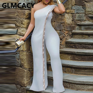 Women Irregular One Shoulder Jumpsuit Solid Sequined Detail Party Club Overalls Jumpsuits