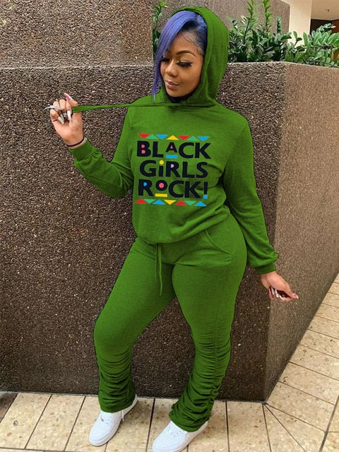 Black Girls Rock Fashion Letter Printing Round Neck Two-piece Set Suit 2021 New  Lady Hoody And trousers Free Shipping
