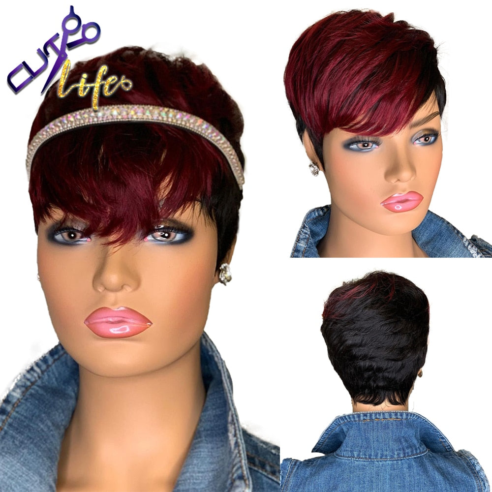 Red Burgundy 99J Ombre Color Short Wavy Bob Pixie Cut Full Machine Made Non Lace Human Hair Wigs With Bangs For Black Women Remy