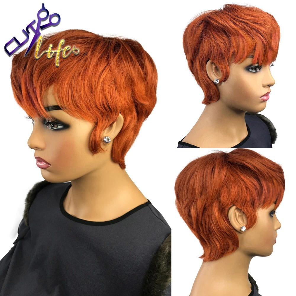 Orange Ginger Color Wig Short Wavy Bob Pixie Cut Full Machine Made No Lace Human Hair Wigs With Bangs For Black Women Brazilian