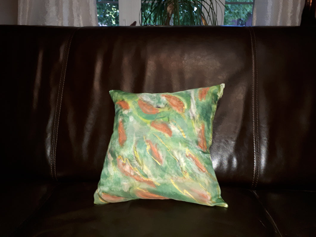 Hand Painted Green Red Silk Throw Pillowcase