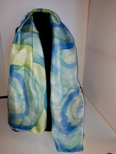 Load image into Gallery viewer, Unique Luxury Blue Yellow Green Hand Painted Silk Scarf