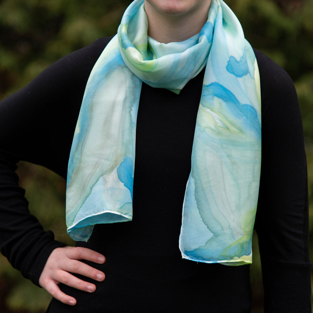 Unique Luxury Blue Yellow Green Hand Painted Silk Scarf