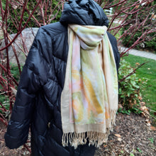 Load image into Gallery viewer, Unique luxury hand painted yellow and light green silk scarf and pashmina combination