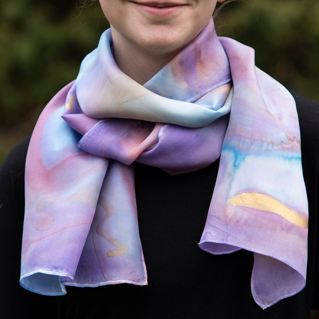 Unique Luxury Blue Lilac Hand Painted Silk Scarf