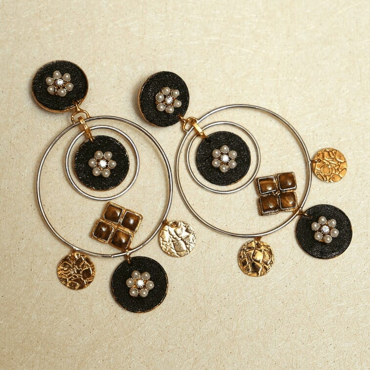 Ethnic Hoops with Tiger stones