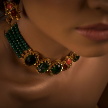 Load image into Gallery viewer, The Husna - A Beautiful Vision (Vintage Zammarud/Emerald and Marjaan/Coral Inspired Choker Set)