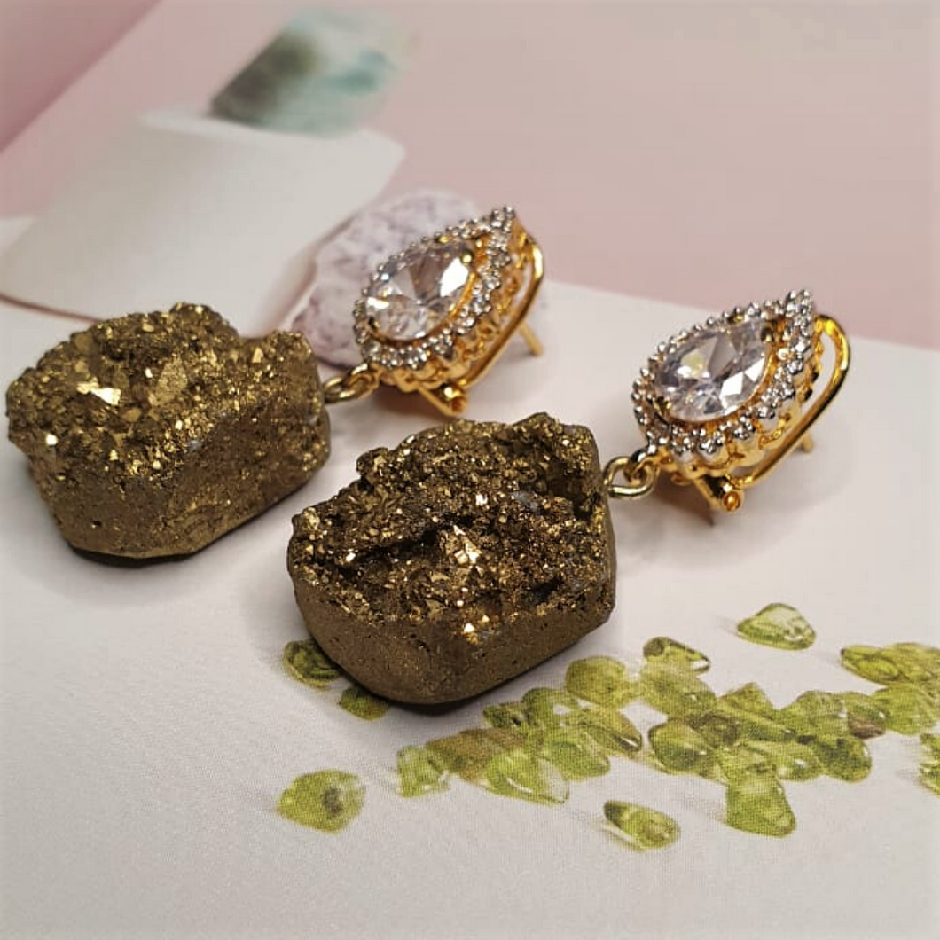 Gold Rock Earrings