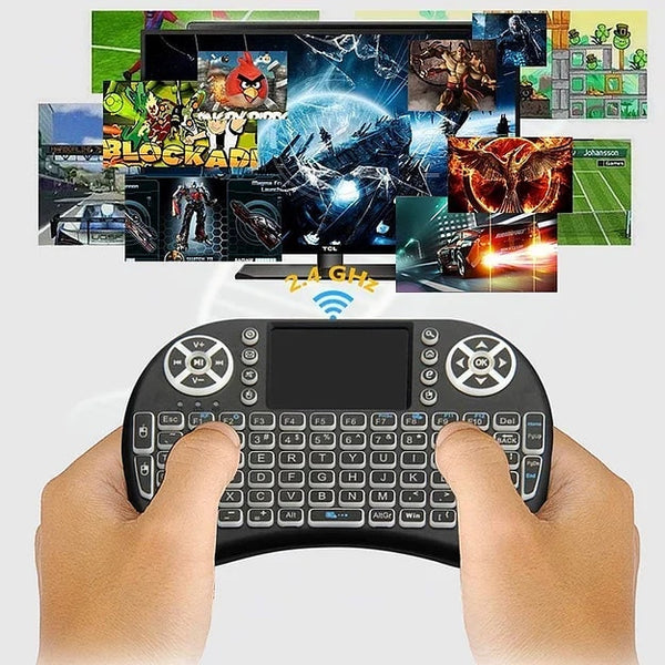 Backlit Wireless/Bluetooth Mini Keyboard + Touch-pad Mouse Remote (WE-KP10)