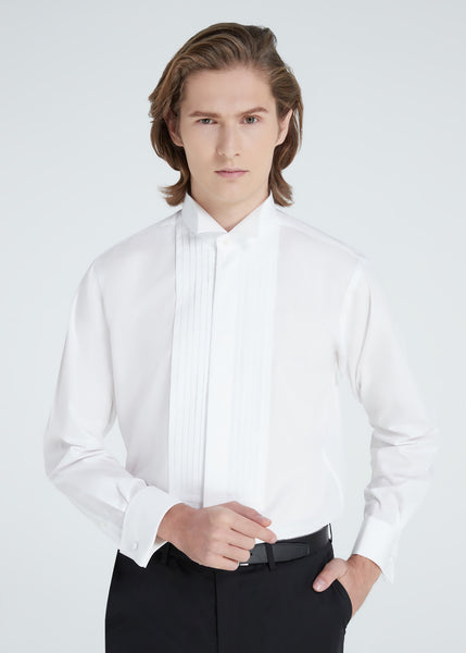 Wing Collar Pleated Shirt (White)