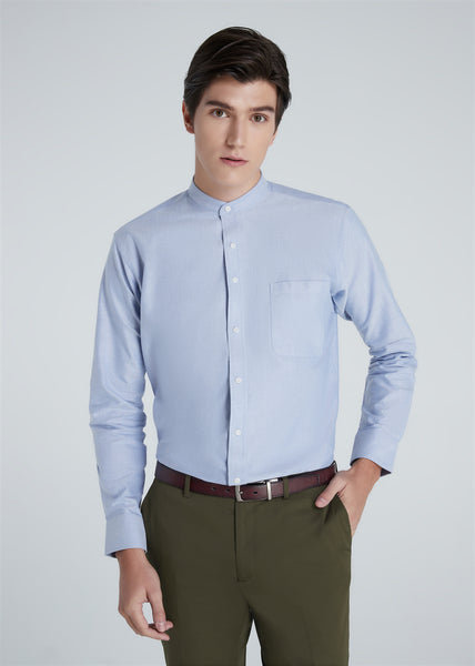 Band Collar Shirt (Blue)