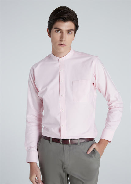 Band Collar Shirt (Pink)