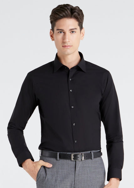 Skinny Plain Shirt (Black)