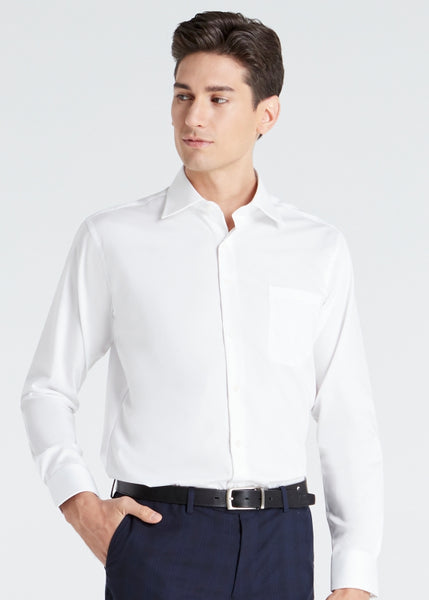 Wide Spread Plain Shirt (White)