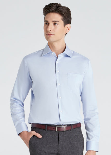 Wide Spread Plain Shirt (Blue)