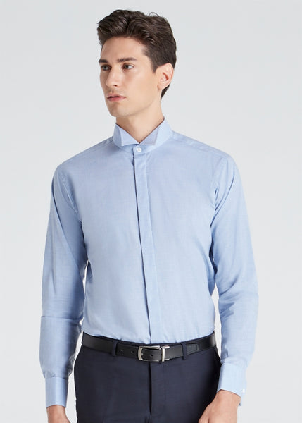 Wing Collar Plain Shirt (Blue)
