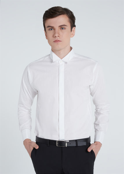 Wing Collar Dobby Shirt (White)