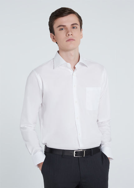 Wide Spread Dobby Shirt (White)