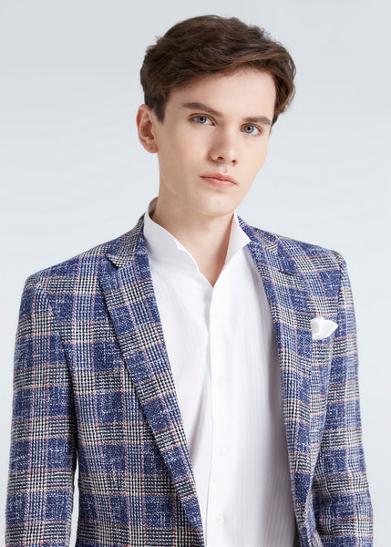 Italian Glen Check Jacket (Blue)