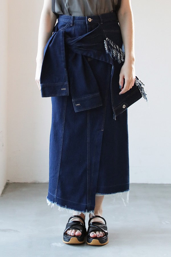 WRAP DESIGN DENIM SKIRT