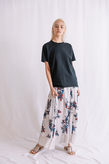 BIG FLOWER PRINT SKIRT