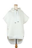 SLEEVELESS BACK PLEATED HOODIE-01 WHITE / 0
