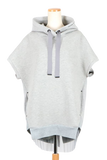 SLEEVELESS BACK PLEATED HOODIE-11 TOP GRAY / 0