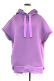 SLEEVELESS BACK PLEATED HOODIE-82 PURPLE / 0