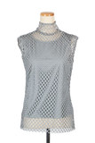 HIGH NECK MESH PULLOVER-12 GRAY / 0