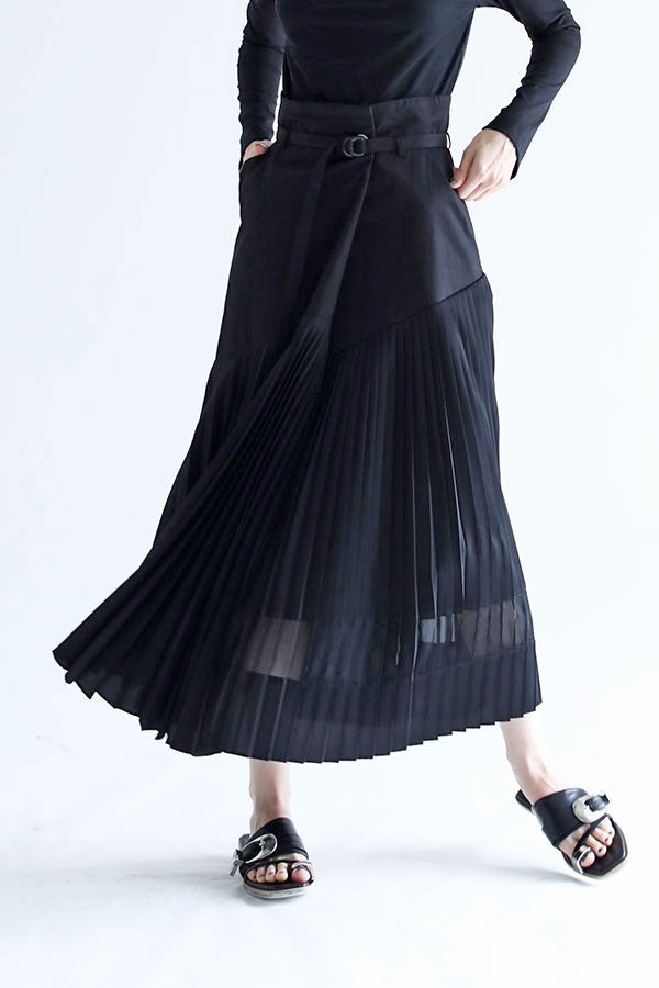 TWILL JOINT PLEATED SKIRT