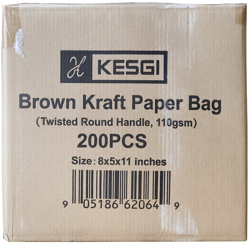"Kesgi - 8""x5""x11"" Kraft Paper Bags w/Handle"