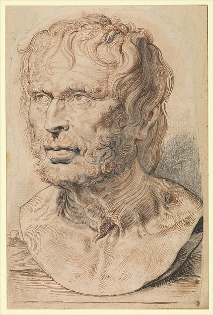 Peter Paul Rubens (Flemish, Siegen 1577–1640 Antwerp) Bust of Pseudo-Seneca, 1600–1626 Pen and brown ink over black chalk heightened with white, with brush and gray ink; 10 7/16 x 6 15/16 in. (26.5 x 17.7 cm) The Metropolitan Museum of Art, New York, Robert Lehman Collection, 1975 (1975.1.843) http://www.metmuseum.org/Collections/search-the-collections/459195