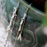 Japanese Reed 925 Silver Drop Earrings