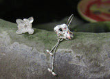 Lotus Flower 925 Silver Drop earrings and Stud earrings