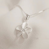925 Silver Plumeria Single Flower Pendant Necklace