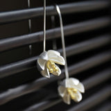 Crocus Flower 24K Yellow Gold & Sterling Silver Drop Earrings