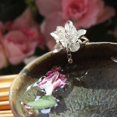 Silver Lotus Flower Ring