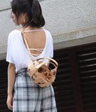 Small Geometric Cutout Leather Shoulder Bag