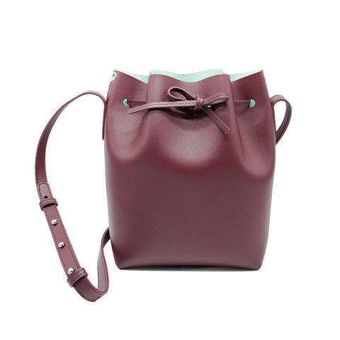 Leather Bucket Bag | Maroon