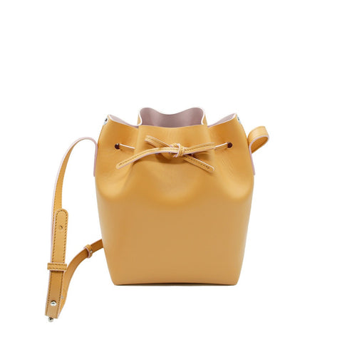 Promotion Leather Bucket Bag | Caramel