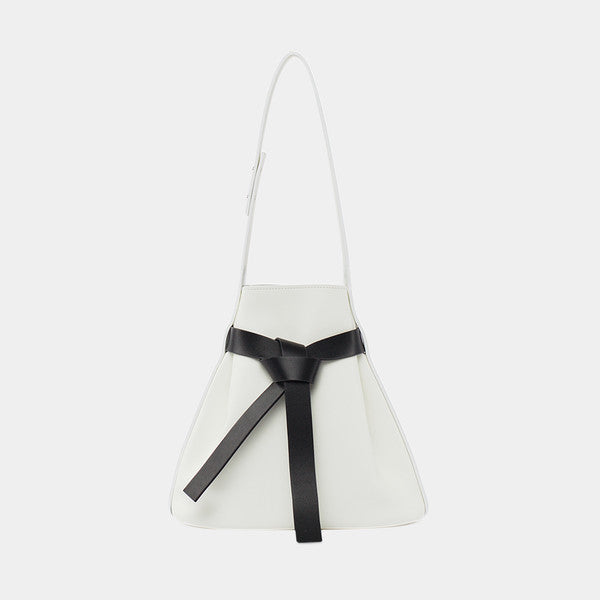 Bow Drawstring Bucket Bag| Black